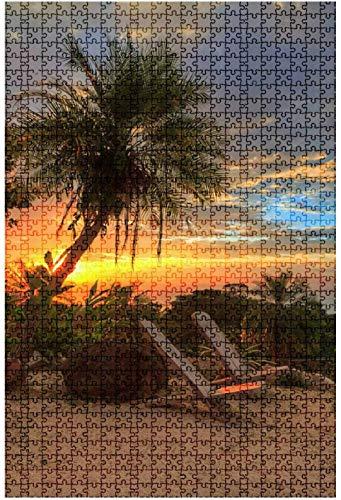 Rompecabezas de madera de 1000 piezas de Ibiza escrito en la arena de una playa tropical Paisaje de un tablero divertido y desafiante Juego de rompecabezas Juguetes Regalo Decoración del hogar-Rompec
