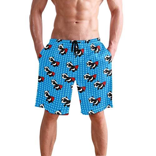 Herren Strand Badehose Superman Animal Bear Dot Boxer Badeanzug Unterwäsche Board Shorts mit Tasche
