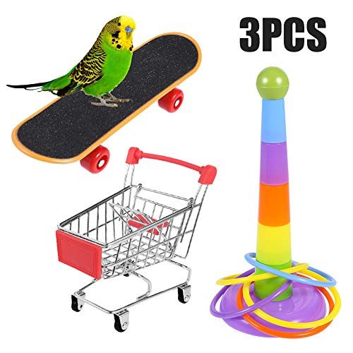 atnight Papagei Spielzeug Training Aktivitäten Set, 3 PCS Parrot Intelligence Spielzeug Mini Shopping Trolley Skateboard Trainingsringe Lustiges Vogelspielzeug für Wellensittich Sittich Nymphensittich