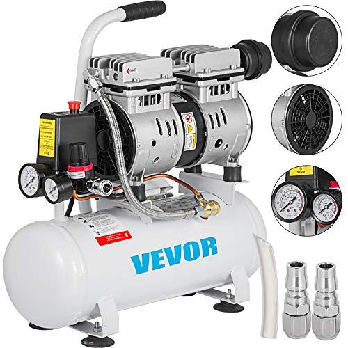 BuoQu 9L Druckluftkompressor 550W Flüsterkompressor Luftabgabe Extra Leiser Ölfreier Luftkompressor mit Kupferrohr