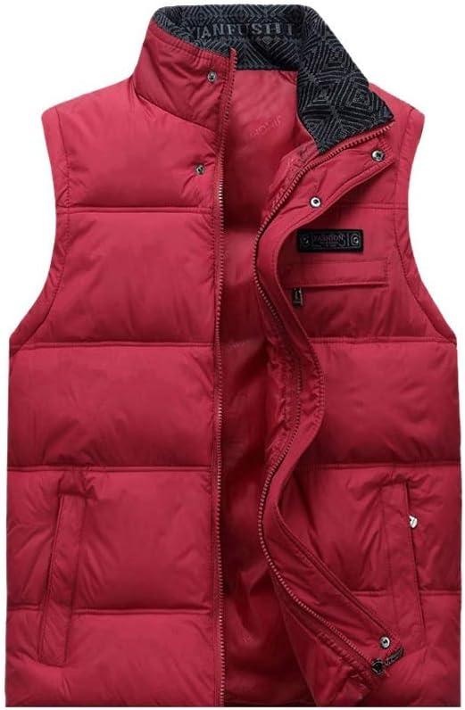 FHK Winter Vest, Cotton Vest Men and Women Autumn and Winter Stand Collar Thick Cotton Vest Warm Vest Workwear Jacket (Color : Red, Size : XXL)