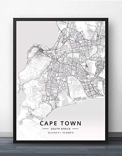 ZWXDMY Leinwand Bild,Südafrika Kapstadt Stadtplan Modern Schwarz Weiß Einfache Malerei Minimalistische Kunst Wandbild Poster Wohnzimmer Vertikale Cafe Dekoration, 40 × 50 cm