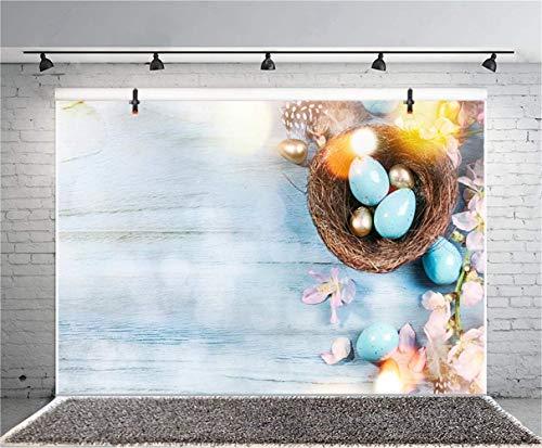 MMPTn 5x3ft Vinile Fotografia Pasqua Sfondo Negozio fiori Dipinto Uova Pasqua Pigmenti Conigli grigi Fondali tavolo in legno Bambino Ritratta Spara Biglietto d'auguri Comunità Easter Egg Hunt