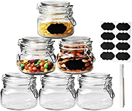 Wide Mouth Mason Jars, OAMCEG 6-Piece 17oz Airtight Glass Preserving Jars with Leak Proof Rubber Gasket and Clip Top Lids, Perfect for Storing Coffee, Sugar, Flour or Sweets - 8 Labels & 1 Chalk Mark