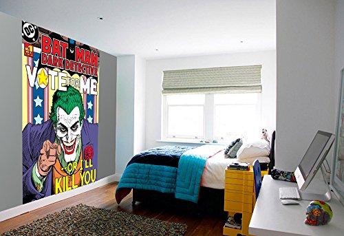 Batman Joker vote for me Foto-Tapete 2-teilig - Fototapete Wallpaper 232x158cm. Beigelegt sind Kleber und Klebeanleitung. Werkzeuge: Eimer, Kochlöffel, Schwamm, Tapezierpinsel, Lot oder Wasserwaage, Bleistift, Meterstab, Stahllineal, Teppichmesser
