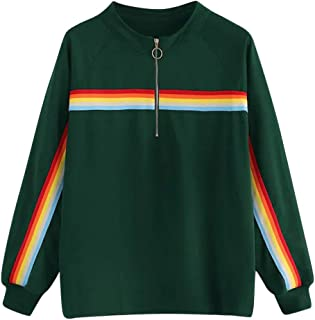 LOPELY Womens Rainbow Print Half Zip Up Pullover Tops Long Sleeve Plain Sweatshirt Premium Quality Jumpers Plus Size