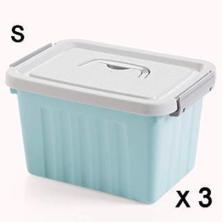 Boîte de rangement XIAOXIAO Boîte en Plastique Couverte pour Bureau À Domicile pour Étudiant (Color : Blue, Size : S)