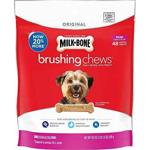 MilkBone Brushing Chews Daily Dental Dog Treats Mini Treats 189 Ounce Pouch