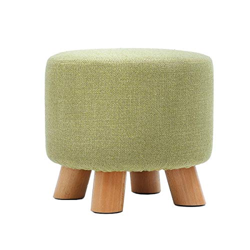 ZHENGTAO Footrest Seat, Sturdy Wrap Shoes Small Bench Round Chair Foot Rest Household Wood Solid Cotton Linen Makeup Puff Stuff Puff Puff forKitchen Living Room (Color: Green)
