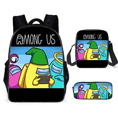 ZBK Game Among US Theme Mochila para ordenador portátil, juego de mochila escolar con bolsa de hombro y estuche para lápices para niños y niñas, 9 colores