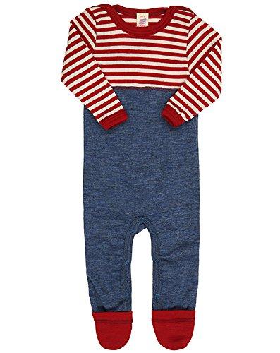 Engel Natur, Baby Overall / Anzug mit Umschlag an den Beinen, 100% kbT Wolle (62/68, Rot melange/Natur)