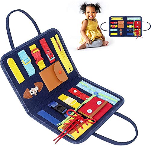 Toddler Busy Board Basic Skills Toddler Activity Board Learn to Improve Fine Motor Skills Early Educational and Sensory Toys for Young Children Ages 2, 3, 4, 5 (Hand-held)