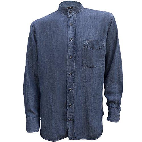 The Celtic Ranch Irish Grandfather Collarless Tencel Denim Shirt in Dark Blue Indigo Wash-M