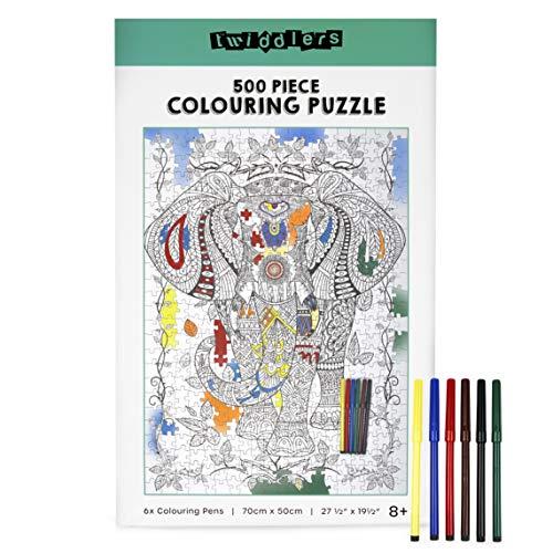 The Twiddlers 500 Pezzi Set di Puzzle da Colorare, Elefante 70x50cm - con 6 Pennarelli