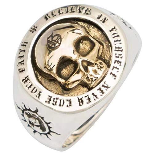 ZHIRCEKE Punk 925 Skull Ring Sterling Silver Gold Skull Ring Engraved Sun Totem For Men Women Adjustable Size,#11