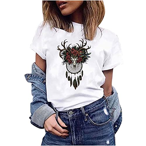 AMhomely Camiseta de verano para mujer, diseño de plantas suculentas con estampado de cuello redondo, suelta, blusa corta y talla grande del Reino Unido