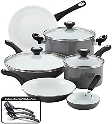 Pemberly Row Ceramic Nonstick Cookware 12 Piece Cookware Set