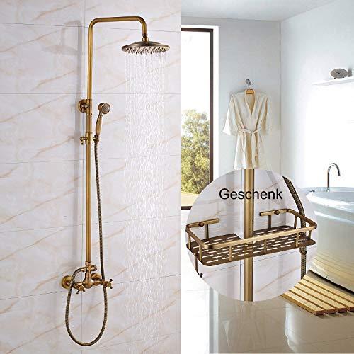 Rozin Messing Antik Dusche Wasserhahn mit Handbrause Duscharmatur 8 Zoll Duschkopf Regenduschkopf Regenbrause mit Lagerregal