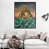 YuanMinglu Exquisita impresión de Arte Fish Girl Pared y póster Fish Girl Diosa mitológica Art Nouveau Marine Art Canvas decoración del hogar Pintura sin Marco 75x103cm