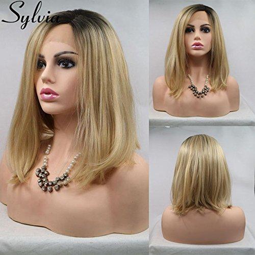 Sylvia Celebrity Frisur Kurz blond Bob Perücken Ombre kurz glatt Hair Synthetische Lace Front Perücken Golden Bob Hair hitzebeständig Lace Perücke 35,6cm