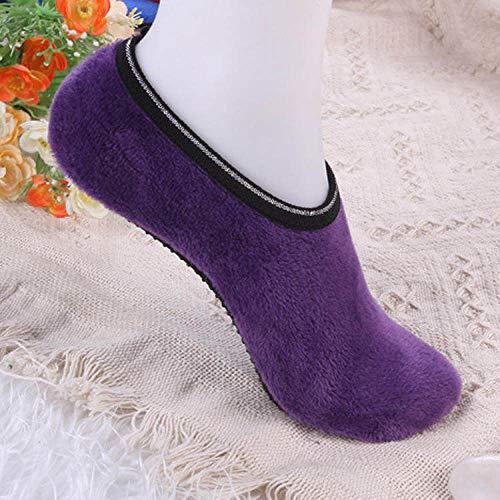 Warme Socken,Slipper Socken,Winter Angenehm Weiches Velvet Indoor Stock Socken Kurz Anti-Skid Boot Socken Farbe Warm Frauen Hausschuhe Socken Lila(3pcs)