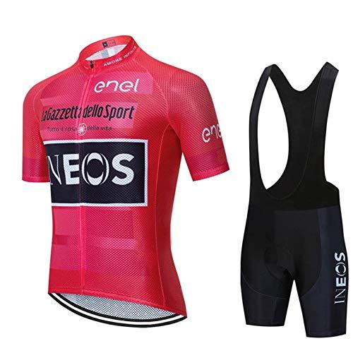 Maglia Ciclismo Uomo Manica Corta, Abbigliamento Sportivo Da Ciclismo Con Pantaloni Ciclismo Salopette Asciugatura Rapida Per MTB Ciclista Completo Ciclismo Squadre (Rosa Rossa,L)