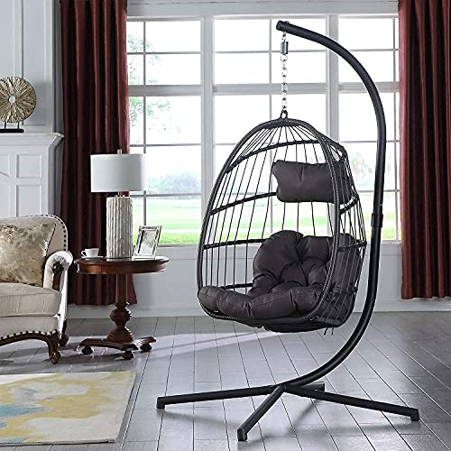 Yechen Hanging Rattan Swing Chair, Egg Chair, Folding Patio Garden Chair, Hammock Chair with Cushion & Stand for Outdoor...