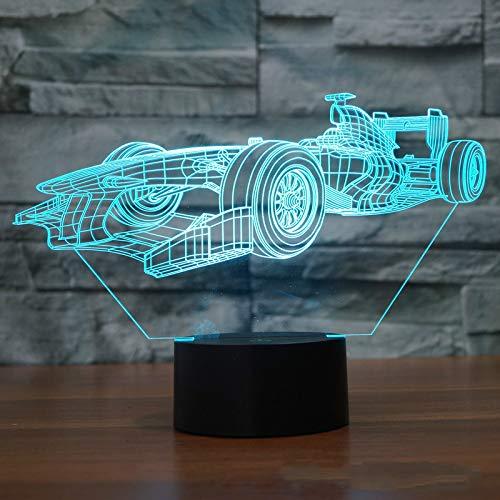 Wangzj 3D Night Lights for Children/Kids Night Lamp/ 7 Led Colors Changing Lighting/Birthday Xmas Friends Gifts / F1 Racing