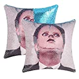 cygnus The Office Dwight Schrute Sequin Pillow Covers Mermaid Magic Reversible Decorative Change Color Pillow Covers 16x16 inch Funny Gag White Elephant Gifts,Blue