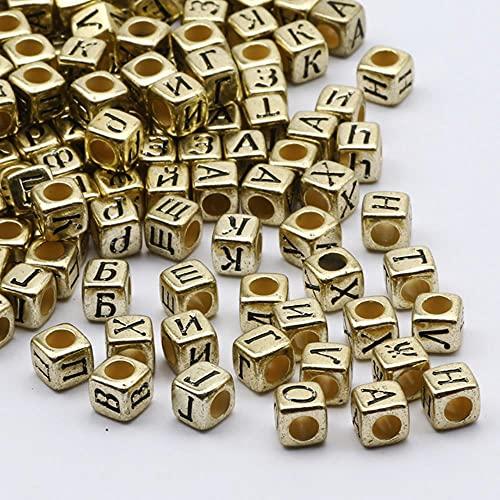 Perlas de letras cuadradas de color negro + dorado Perlas sueltas de acrílico del alfabeto mixto aleatorio para la fabricación de pulseras de joyería para niños DIY-B06330,100PCS