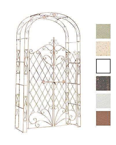 CLP Eisen Rosenbogen Melissa mit Tor/Tür, Doppeltor Höhe 150 cm, Maße gesamt: Breite 120 cm, Höhe 220 cm, Tiefe 40 cm, Farbe:antik braun