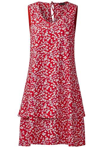Street One Damen Kleid Muster: Blumen Gr. 36 Farbe: Rot/Weiss/Grau und Dunkelblau/Pink Kleid ohne Arm