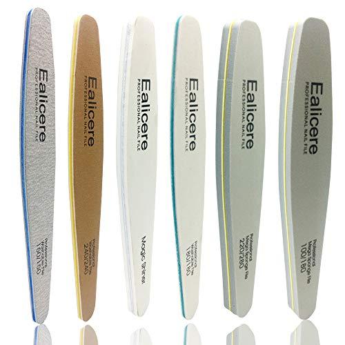 6 Stück Ealicere Nagelfeile Set Profi Nagel Buffer Nagelfeilen Doppelseitige Feile und Buffer Schmirgel Boards Nagelpolierblock Robust und verschleißfest und Waschbar