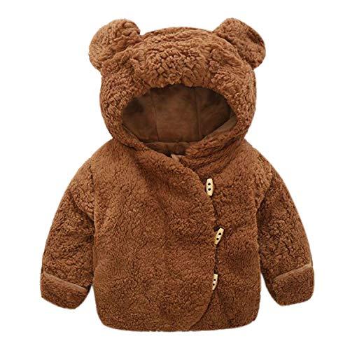 De feuilles Baby Jungen Mädchen Teddy Kapuzenpullover Unisex Baby Fleecejacke mit Kapuze Frühling Herbst Winter Kinderjacken mit Bären Ohren 70-100CM