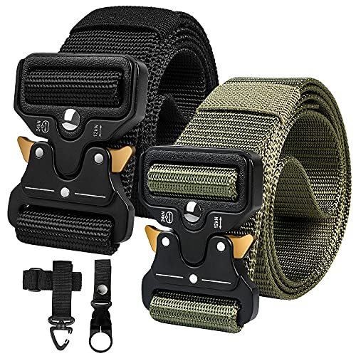Paquete de 2Cinturones Tácticos para Hombres,Cinturones de Cintura de Lona de Nailon Resistentes de Estilo Militar con Hebilla de Metal de Liberación Rápida