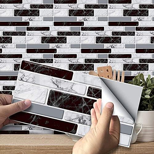 YSISLY Pegatinas de Azulejos, Paneles Impermeables Autoadhesivos Calcomanías de Papel de Pared Azulejos Rectangulares para Decoración del Hogar, PVC (Negro+Blanco, 54pc)