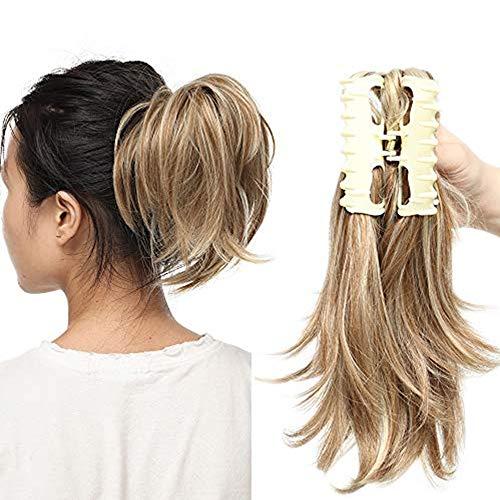 Ponytail Extension Haarteil Zopf Pferdeschwanz Haarverlängerung mit Butterfly-Klammer wie Echthaar Sandy Brown, um Blond zu bleichen 95g-12