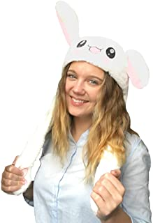 JSVER Funny Plush Bunny Hat Cap/Cute Animal Hat/Head-wear Costume Accessory with The Ears Popping up When Pressing The Paws
