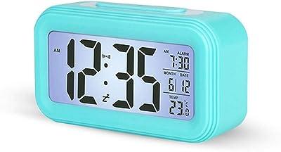 TEEPAO Reloj despertador inteligente, artefacto de viaje, reloj LCD silencioso, pantalla grande,