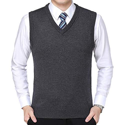 Hombres Chaleco De Punto,Diseño Clásico De Punto V-Cuello Diseño Gris Oscuro Cachemira Sin Mangas Suéteres De Bolsillos Negocio Suave Ajustador Cintura Gilet Para Traje Formal Partido Hombres