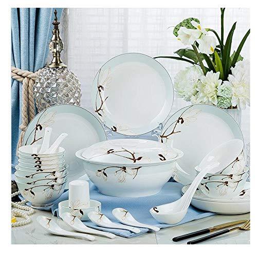 ZXZ Set di Posate per la Casa in Porcellana, Posate Personalizzate in Bone China,Blu,28Head