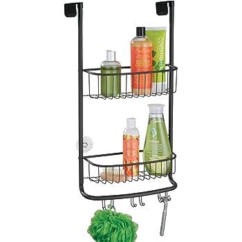 mDesign Estanterías de baño para colgar – Práctico colgador de ducha sin taladro – Estantes para baño de metal con dos anchas cestas metálicas y ganchos – gris: Amazon.es: Hogar