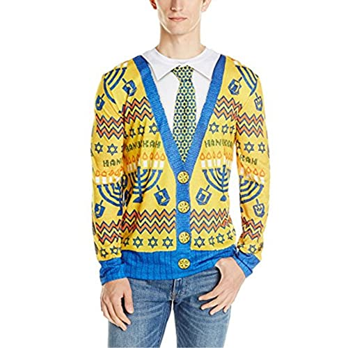 Faux Real Men's 3D Photo-Realistic Ugly Christmas Long Sleeve T-Shirt, Hanukkah Sweater, X-Large