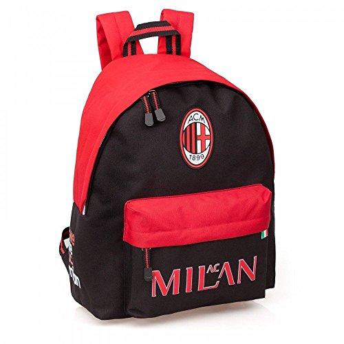 misterpeluche-it Zaino AC Milan Modello Americano - Scuola Tempo Libero - 100% Prodotto Ufficiale