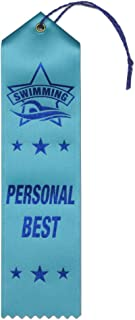 Personal Best Swimming Award Ribbons - 25 Count Bundle – Includes Event Card and String – Made in The USA