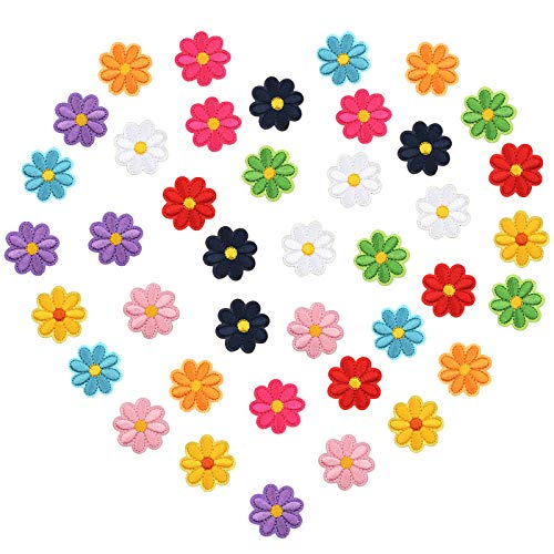 LAITER 40 PCS Apliques Bordados de Mini flor de sol Parche de Flor Girasol de tela Autoadhesivo 4 cm para Hecho A Mano Manualidad Decoración de Mochilas Ropas Bolsas Jeans para Hombres Mujeres Niños