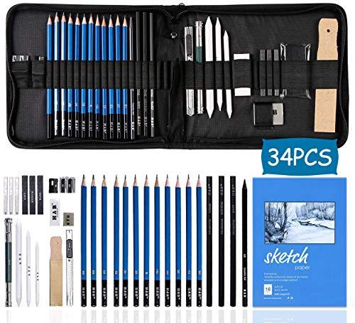 Electomania 34 Piece Kit Drawing and Sketching Pencils Set
