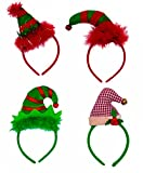 Christmas Headbands - Set of 4 Elves Party Hats Christmas Elf Headbands