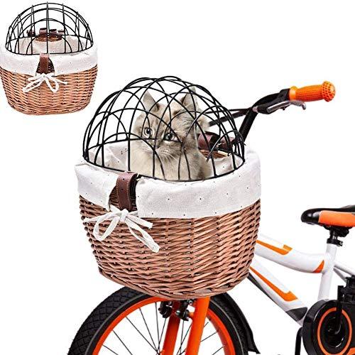 Cakunmik Haustiere Fahrradkorb Mit, Fahrradkorb Für Kinder, Vorne Lenkerkorb Für Kinderfahrrad, Retro Handgewebter Rattan Weidenkorb Mit Lederriemen,Manuell