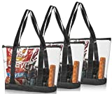 Bags for Less Set 3 Clear Stadium Security Travel & Gym Zippered Tote